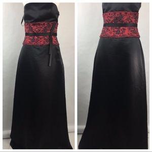 Bill Levkoff NWT Strapless Red Black Sequin Dress
